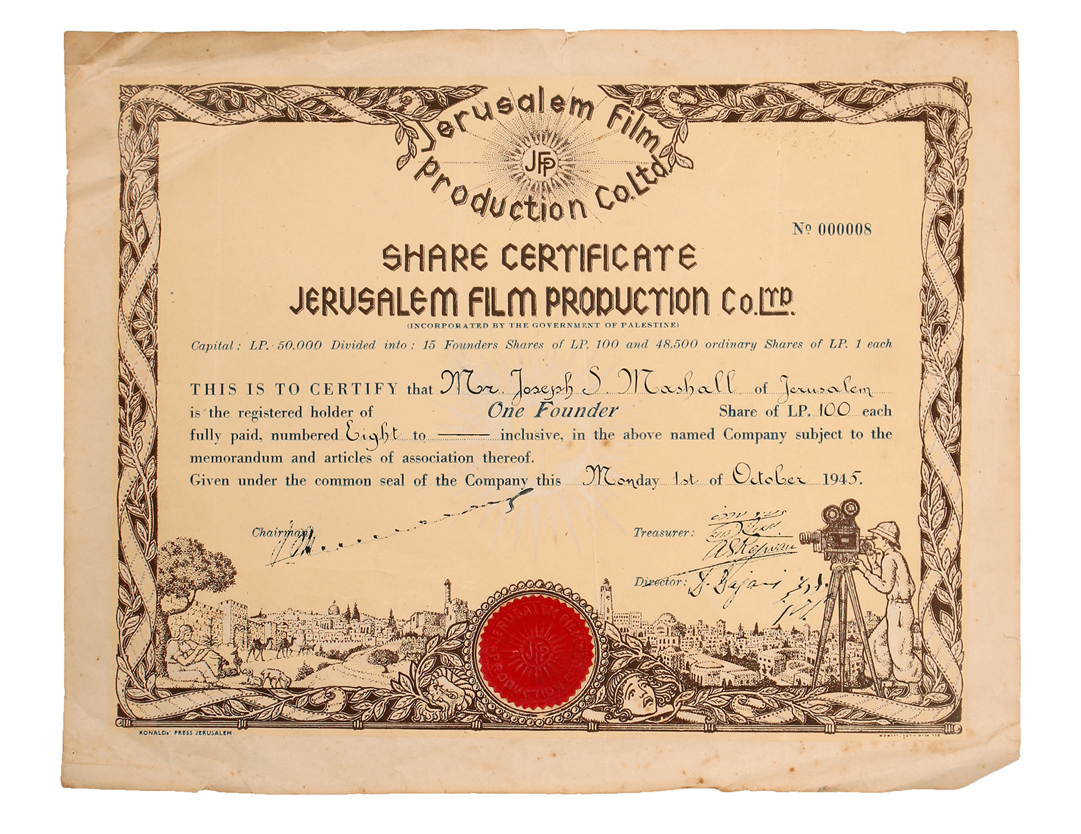 Share certificate designed by meir gur aryeh and zeev raban share and signatures of the companys representatives from 1945 28x35 cm good fair condition stains creases and folding marks 1betcityfo Gallery