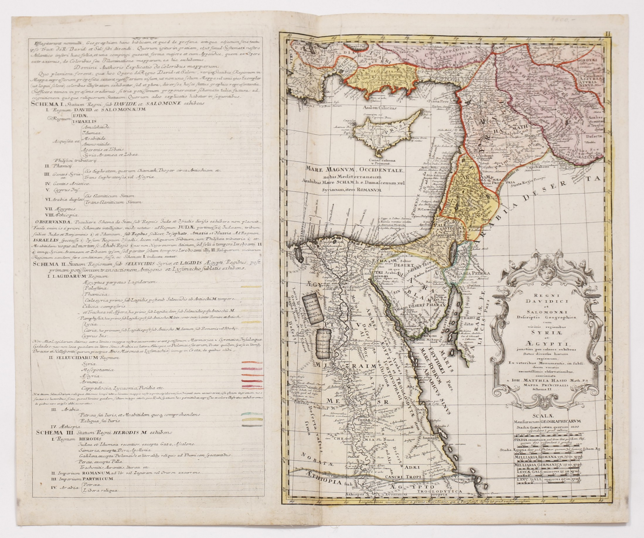 Detailed Map Of Eretz Israel Syria And Egypt HandColored - Map of egypt detailed