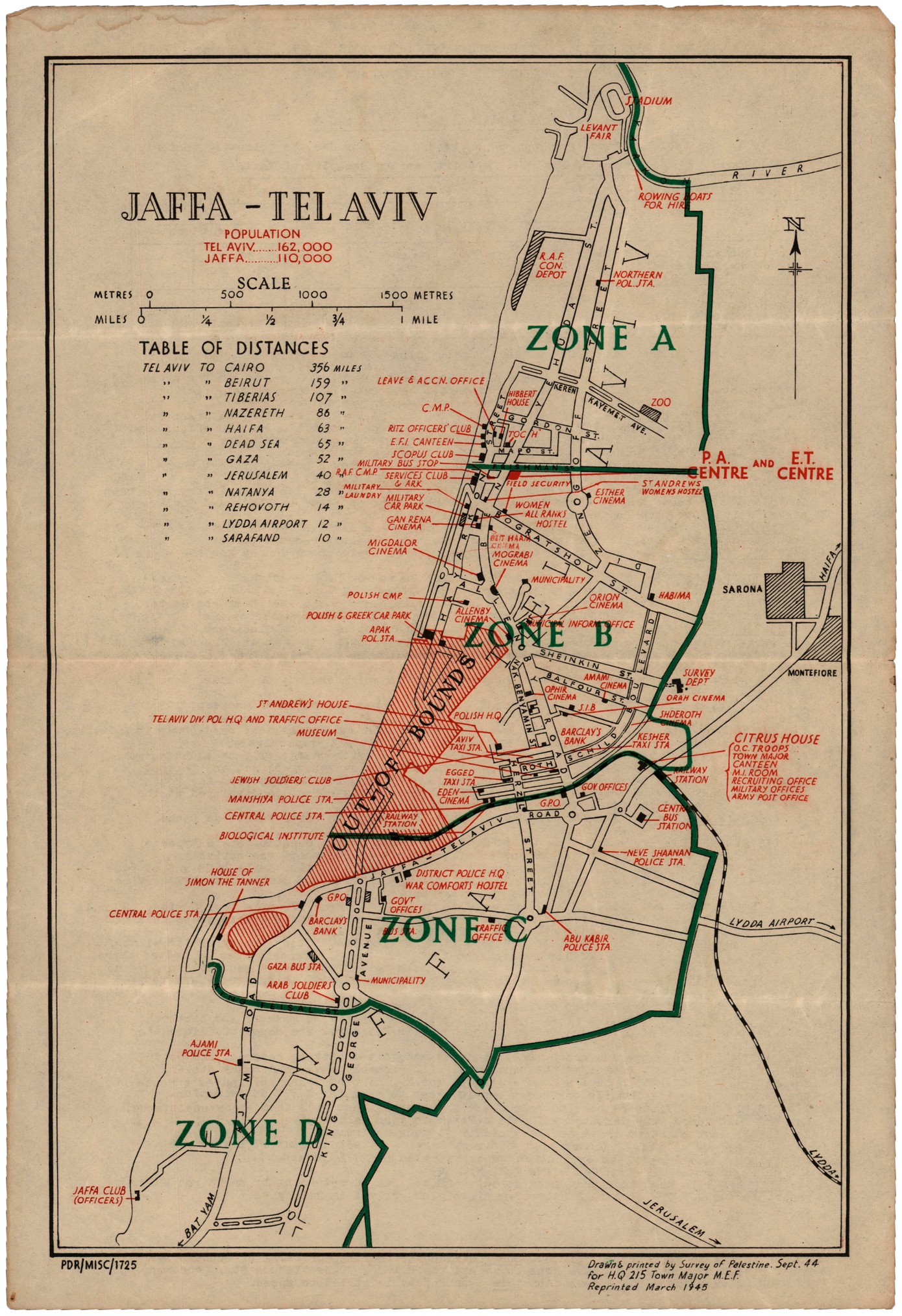 Map of TelAvivJaffa Information Leaf for the British Soldier