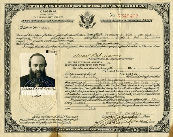 United States Certificate of Naturalization of Rebbe Rabbi Yisrael ...
