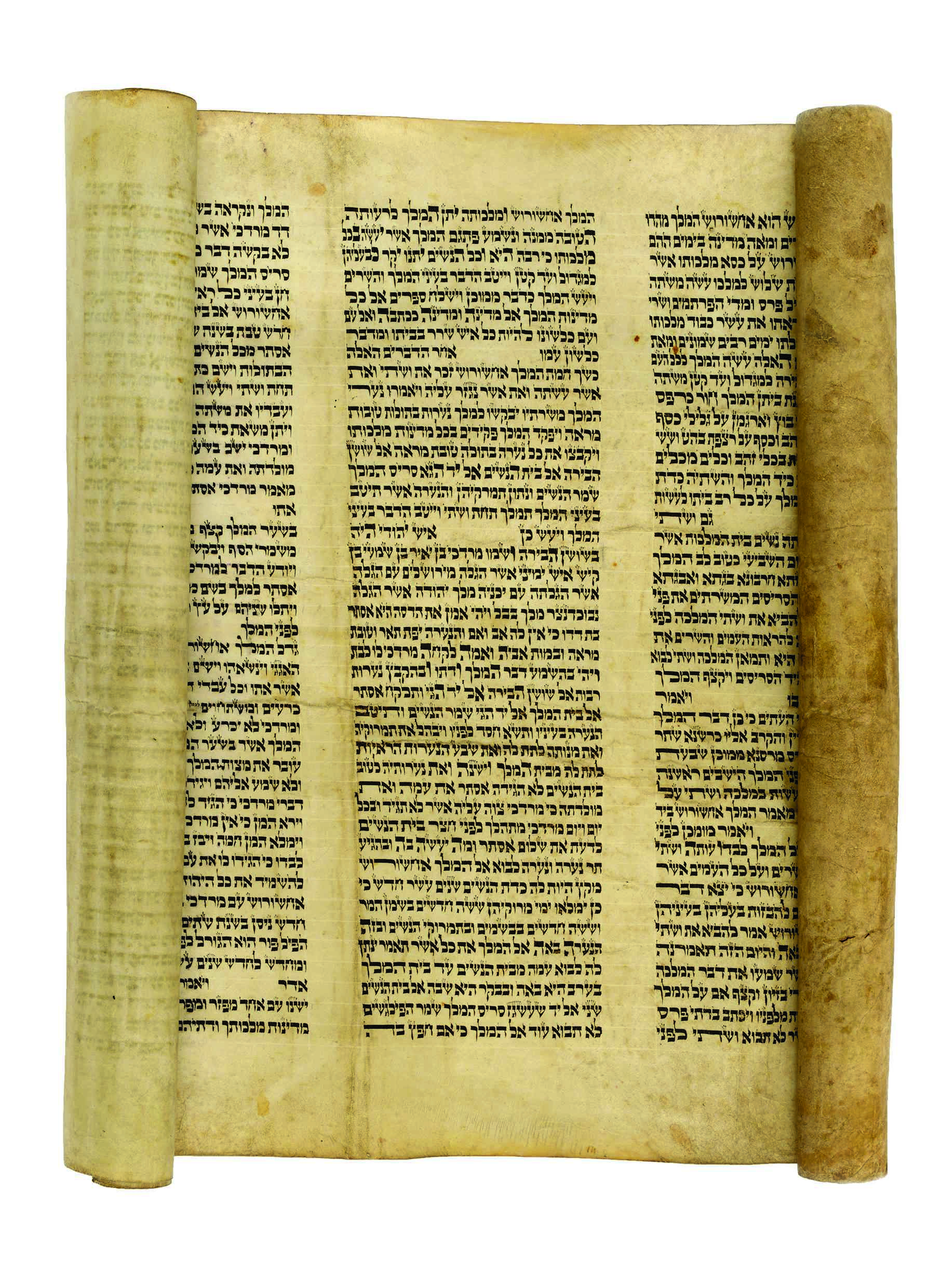 usually megillot with highlighted names have only 3 5 highlighted names height of parchment approximately 58 cm 42 lines per column