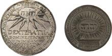 Two Medals with Tetragrammaton - Victory of the Swedes at the Battle of Breitenfeld, 1631 / Visit of Peter the Great to Hamburg, 1713