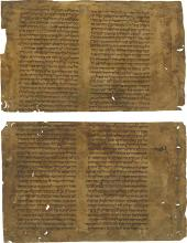 Fragments of Ancient Parchment Manuscripts - Babylonian Talmud - Europe, 13th Century