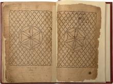 Four Handwritten Volumes, the Five Books of the Torah -  Tafsir Rasag in Judeo-Arabic - with Mesorah Gedolah, Mesorah Ketanah,  and Machberot HaTijan - Micrographic Illustrations - Sana'a, Yemen, 1698 - Handwriting of the Dayan R. Moshe Elkati'i